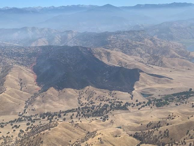 Hundreds of acres of wildland in eastern Tulare County were destroyed by flames over Labor Day weekend.