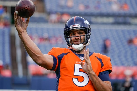 Denver Broncos quarterback Joe Flacco warms up before the start of an NFL preseason football game against the Arizona Cardinals, Thursday, Aug. 29, 2019, in Denver. (AP Photo/Jack Dempsey)