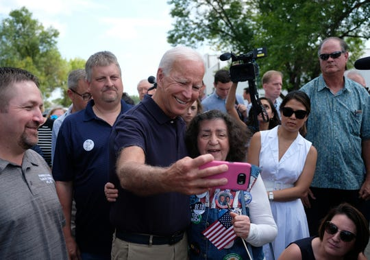 Democratic presidential candidate and former US Vice President Joe Biden campaigns on Monday, Sept. 2, in Cedar Rapids, Iowa. Biden spoke at the Hawkeye Area Labor Council Picnic and was among several Democratic presidential candidates who attended the Labor Day event.