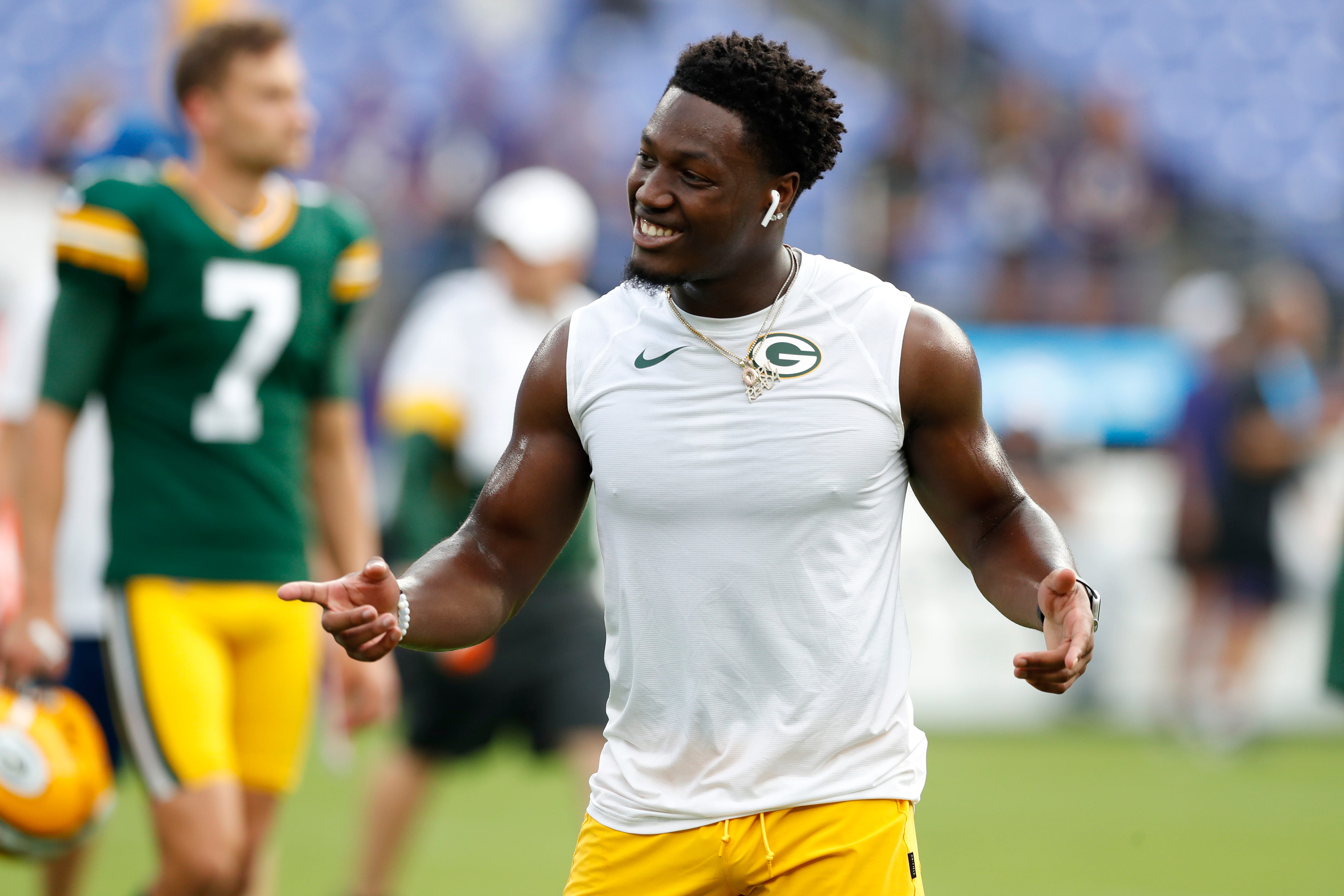 Darnell Savage #26 of the Green Bay Packers warms up prior to a preseason game against the Baltimore Ravens at M&T Bank Stadium on Thursday, Aug. 15, in Baltimore, Maryland.