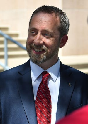 In this file photo, James Hughes announced his candidacy for Justice of the Peace Precinct 1, Place 1, about six months ago on the steps of the Wichita County Courthouse.