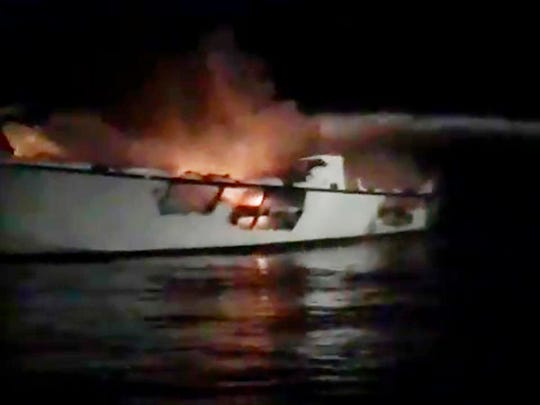 "Dive boat ""Conception,"" burns before it sank off Santa Cruz Island, near the coast of Ventura County, California early Sept. 2, 2019."