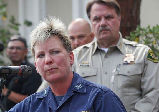 U.S. Coast Guard Captain Monica Rochester talks about the latest developments of the Santa Barbara scuba boat fire at a press conference in Santa Barbara, September 3, 2019.
