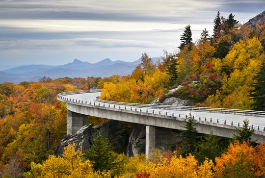 Stock photo of Blue Ridge Parkway Autumn Linn Cove Viaduct Fall Foliage Mountains Credit: Dave Allen Photography/iStockphoto, Getty Images Thinkstock GETTY ID#: 134579706