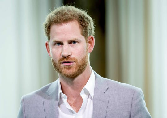Prince Harry attends the Adam Tower project introduction and global partnership between Booking.com, SkyScanner, CTrip, TripAdvisor and Visa in Amsterdam on Sept. 3, 2019.