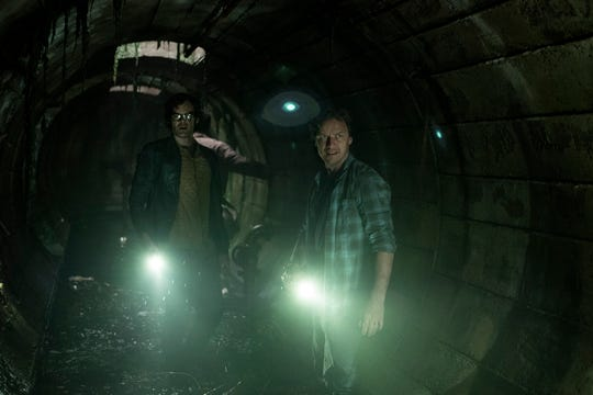 "Richie (Bill Hader, left) and Bill (James McAvoy) seek a way to destroy Pennywise in ""It: Chapter Two."""