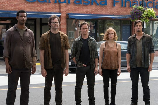 "Isaiah Mustafa (far left), Bill Hader, James McAvoy, Jessica Chastain and Jay Ryan play adult members of the Losers' Club in ""It: Chapter Two."""