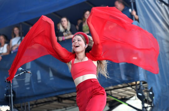 NEWPORT, RHODE ISLAND - JULY 27: Maggie Rogers performs during day two of the 2019 Newport Folk Festival at Fort Adams State Park on July 27, 2019 in Newport, Rhode Island. (Photo by Mike Lawrie/Getty Images) ORG XMIT: 775373704 ORIG FILE ID: 1164621981