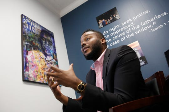 In this photo taken Wednesday Aug. 14, 2019, Stockton Mayor Michael Tubbs discusses a program he initiated to give $500 to 125 people who earn at or below the city's median household income of $46,033 during an interview in Stockton, Calif.