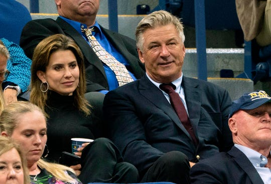 Alec Baldwin and his wife Hilaria watch a match at the 2019 US Open at the USTA Billie Jean King National Tennis Center in New York on September 2, 2019.
