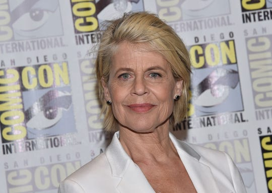 "Actress Linda Hamilton arrives for the ""Terminator: Dark Fate"" red carpet event during Comic-Con in San Diego, Calif. on July 18, 2019."