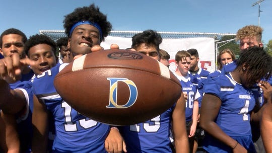 Donovan Catholic football players shown during a taping of the Red Zone Road Show in Toms River Tuesday, September 3, 2019.   Donovan will face Linden in the Red Zone Game of the Week Friday night.