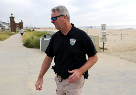 Spring Lake Police Chief Edward Kerr, leaves the beach after the recovering the body of 15 year old Josiah Jeremiah Robison, who drowned in the ocean on Sunday. Spring Lake,NJ. Wednesday, September 4, 2019  Noah K. Murray-Correspondent/Asbury Park Press