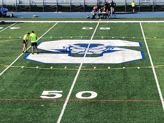 During halftime of the Shore Regional field hockey game versus Rumson-Fair Haven on Sep. 3, 2019, the officials have a discussion at midfield
