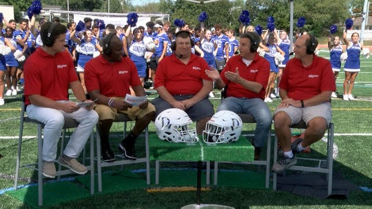 The Red Zone Road Show crew is show during a taping at Donovan Catholic High School in Toms River Tuesday, September 3, 2019.   Donovan will face Linden in the Red Zone Game of the Week Friday night.