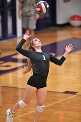 Wylie's Pierson Sanders (1) serves against San Angelo Central in last week's 3-0 win. Sanders was a big part of the Lady Bulldogs going 2-0 with a pair of straight-set victories and earned ARN Local Player of the Week honors for the week ending Sept. 7.