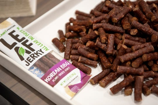 Kellogg Co. presents samples of their vegan jerky product on Wednesday, Sept. 4, 2019 at the new W.K. Kellogg Center for Innovation in Battle Creek, Mich. The company is researching and developing plant based proteins.