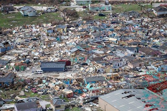 Destruction from Hurricane Dorian at Marsh Harbour in Great Abaco Island, Bahamas on Wednesday, Sept. 4, 2019. (Al Diaz/Miami Herald via AP)