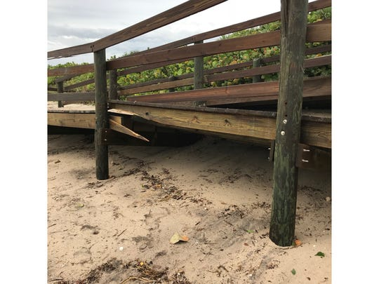 Brevard County officials documented this damaged dune crossover after Hurricane Dorian's pass offshore.