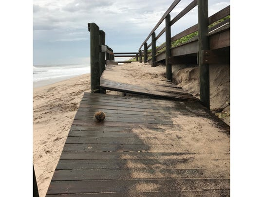 Brevard County officials documented this broken dune crossover at Bonsteel Park, south of Melbourne Beach Wednesday morning, after Hurricane Dorian passed offshore