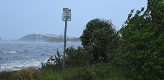 Pineda Causeway in the Melbourne area Tuesday evening as Hurricane Dorian moves slowly off the coast of Florida's east coast.
