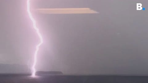 A young boy died on Sunday after being struck by lightning Saturday evening in Hot Springs, Virginia. This photo shows lightning striking Lake Champlain in Vermont on Sept. 4, 2019.