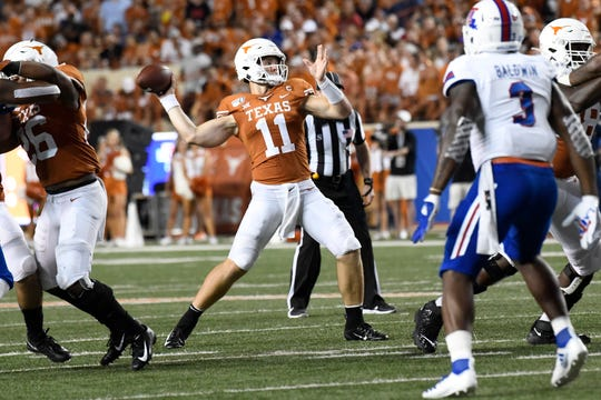 Aug 31, 2019; Austin, TX, USA; Texas Longhorns quarterback Sam Ehlinger (11) throws a pass in the second half in a game against the Louisiana Tech Bulldogs at Darrell K Royal-Texas Memorial Stadium. Mandatory Credit: Scott Wachter-USA TODAY Sports