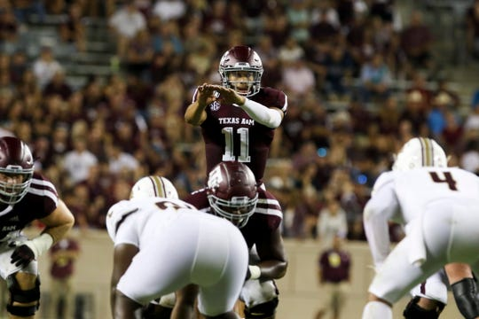 Aug 29, 2019; College Station, TX, USA; Texas A&M Aggies quarterback Kellen Mond (11) calls out signals during the third quarter against the Texas State Bobcats at Kyle Field. Mandatory Credit: John Glaser-USA TODAY Sports