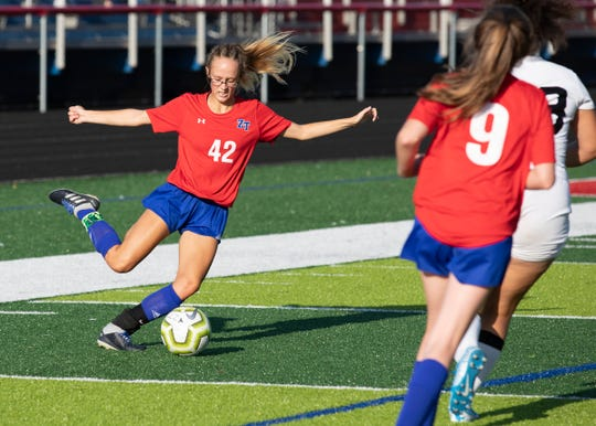 Zane Trace's Haynna Addy kicks the ball during a 2-1 loss to Miami Trace at Zane Trace High School on September 3, 2019.