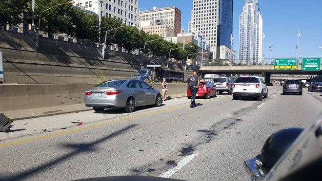 Four car crash; reduced lanes