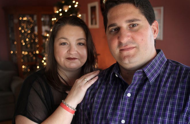 Former Spotswood mayor Nicholas Poliseno with his wife Allison in their Spotswood home in 2013. Poliseno (right) worked at Ground Zero following the WTC Terrorist Attack on Sept. 11 and was diagnosed with Sarcoidosis. He died on July 18, 2019 from Sept. 11-related illnesses. His wife Allison Poliseno (pictured) and daughters Victoria, 15, and Olivia, 12, intend to continue in his footsteps promoting awareness for Sept. 11 victims and survivors.