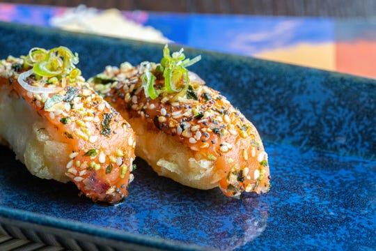 Everything smoked salmon nigiri from Blue Sushi Sake Grill.