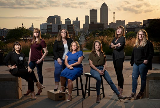 From left to right Iowa State Directors Misty Rebik, Lara Henderson, Cynthia Sebian-Lander, Monica Biddix, Janice Rottenberg, Lauren Dillon, Megan Simpson pose for a portrait on Tuesday, Sept. 3, 2019 in Des Moines. The seven women lead the Iowa campaigns of Bernie Sanders, Kirsten Gillibrand, Julian Castro, John Delaney, Elizabeth Warren, Amy Klobuchar, Steve Bullock.