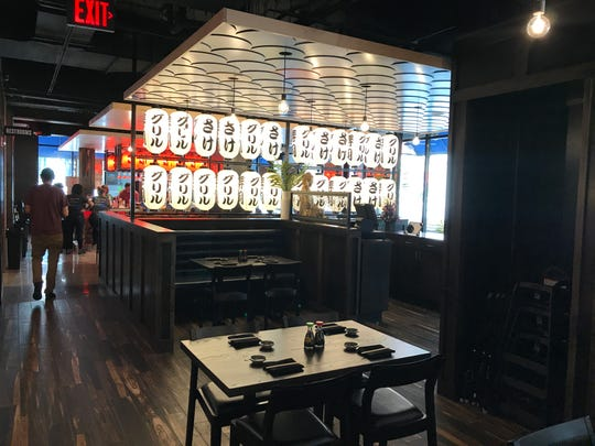 The dining room at Blue Sushi Sake Grill has plenty of seating options.