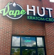 Sales of flavored e-cigarette products make up about 30% of the business at the Vape Hut Kratom-CBD shop in Wyandotte,