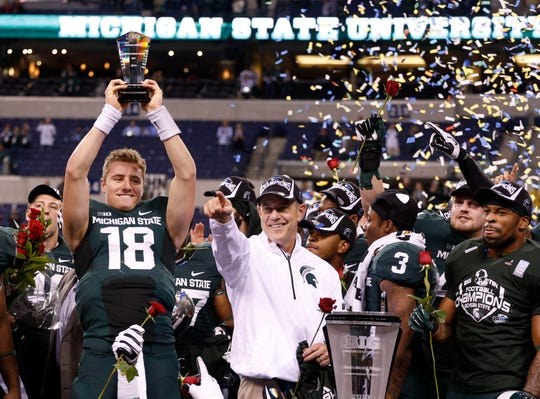 Dec. 7, 2013: Michigan State 34, Ohio State 24, Lucas Oil Stadium: A heavy underdog, MSU took a 17-0 lead in the Big Ten championship game, but was caught and passed by second-ranked Ohio State. But a fourth-down stop by Denicos Allen on OSU's Braxton Miller, followed by a clinching 26-yard touchdown run by Jeremy Langford, preserved the first Big Ten championship game victory in school history and a trip to the Rose Bowl for the first time since 1987.