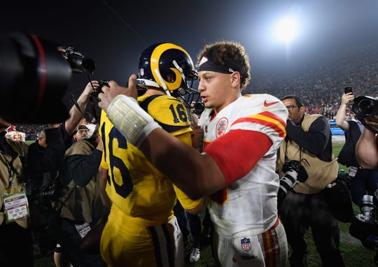 Chiefs QB Patrick Mahomes congratulates Rams QB Jared Goff, after the Rams won 54-51 at Los Angeles Memorial Coliseum on Nov. 19, 2018.