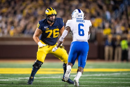 Michigan offensive lineman Ryan Hayes plays against Middle Tennessee State on Aug. 31, 2019, at Michigan Stadium in Ann Arbor.