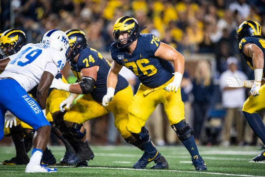 University of Michigan offensive lineman Ryan Hayes plays against Middle Tennessee State on Aug. 31, 2019, at Michigan Stadium in Ann Arbor.