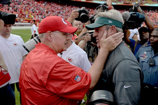 Chiefs head coach Andy Reid and Eagles head coach Doug Pederson talk after the game Sept. 17, 2017 in Kansas City.