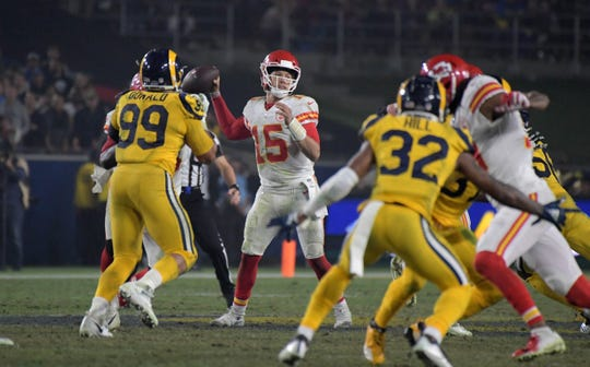 Chiefs quarterback Patrick Mahomes passes against the Rams at the Los Angeles Memorial Coliseum. The Rams defeated the Chiefs, 54-51, Nov. 19, 2018 in Los Angeles