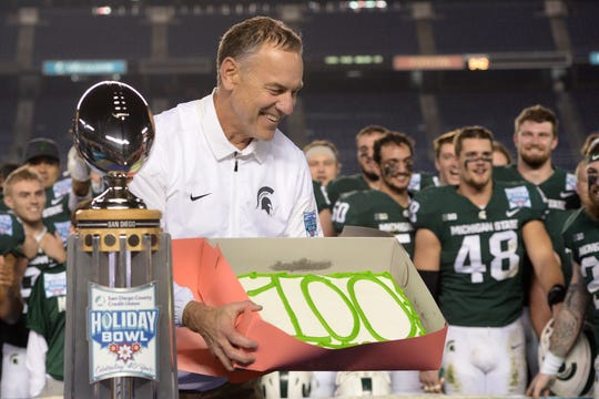 Dec. 28, 2017: Michigan State 42, Washington State 17, Qualcomm Stadium: In the Holiday Bowl, Brian Lewerke threw for three touchdowns and the defense flexed their muscle, rolling past the Cougars and restoring MSU's tradition of 10-win seasons under Dantonio.