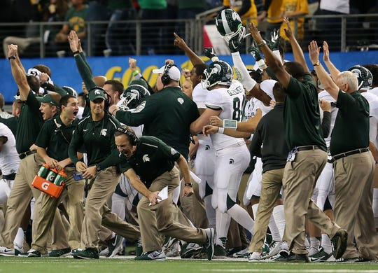 Jan. 1, 2015: Michigan State 42, Baylor 41, AT&T Stadium: Connor Cook threw a 10-yard touchdown pass to Keith Mumphrey with 14 seconds remaining, as a huge blocked field goal helped the Spartans erase a 20-point fourth-quarter deficit and win the Cotton Bowl Classic in thrilling fashion over offensive juggernaut Baylor.
