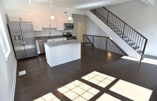 This is the second-floor kitchen in one of the newly opened 8th Street Row Homes.