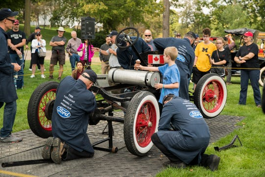 Even youngsters can participate in manufacturing a Model T at the Old Car Festival at Greenfield Village, happening Saturday and Sunday.