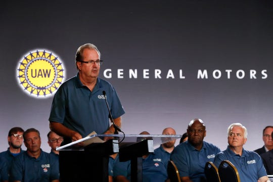 United Auto Workers President Gary Jones speaks during the opening of national contract talks with General Motors Co. in Detroit.