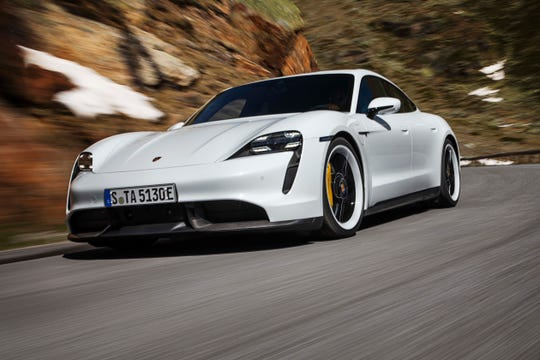 Porsche debuted its first-ever electric vehicle, the Taycan sports sedan, on Wednesday.