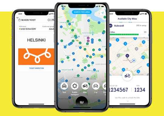 The Whim mobile application lets users in Helsinki choose a monthly subscription that includes unlimited public transport, 10-euro taxis over short distances, the use of city bikes and cheaper car rentals. Whim also operates in Birmingham, U.K., and Antwerp, Belgium with plans to spread to the U.S., Canada, Japan and other markets.