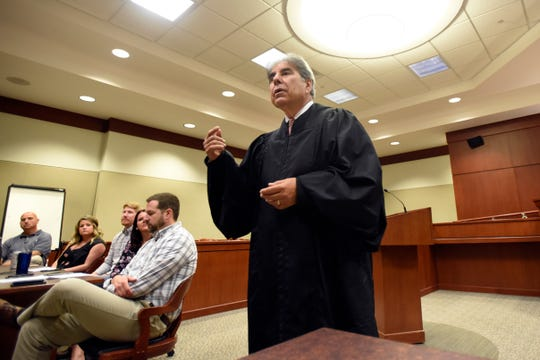 23rd District Court Judge Geno Salomone addresses participants in the Regional DWI Court Program, Friday, July 12, 2019, in Taylor, Michigan.
