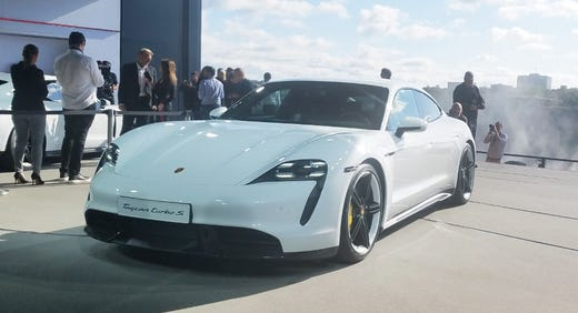 Porsche introduced its first-ever electric vehicle, the Taycan, Wednesday, Sept. 4, 2019, in Niagara Falls, Canada.